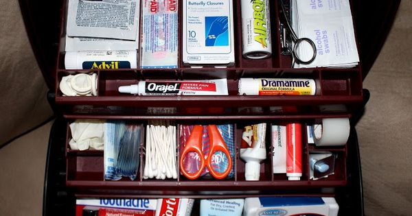 First Aid Kit in Tackle Box with list of what to Cute