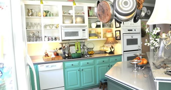 Paint lower cabinets bright and upper cabinets white yes for Brightly painted kitchen cabinets