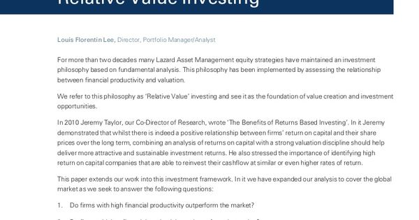 Lazard Investment Research Relative Value Investing Lazard - investment analysis