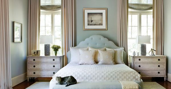 Love the window treatments in this soft blue bedroom.