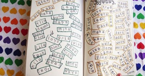 draw fridge with poetry magnets in four letter words making up weird sayings