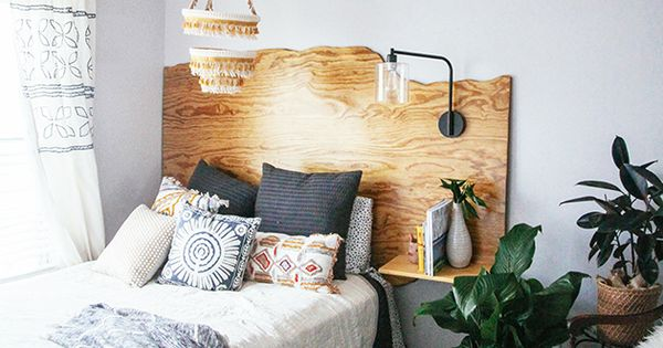 "I love the textures, and the idea of a ""headboard"" with a"