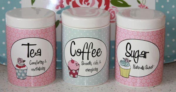 Pink Retro 3 Ceramic Tea Coffee Sugar Jars Canisters Cupcake Blue Vintage Shabby Personal