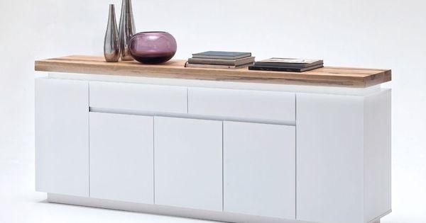 sideboard romina mit led licht dimmbar wei matt mit eiche massiv 8204 buy now at https www. Black Bedroom Furniture Sets. Home Design Ideas