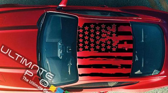 1x Decal Kit Roof Destorded Us Flag Sticker Graphic Compatible With Ford Mustang Gt 2005 2016 S 197 American Flag Ford Mustang Gt Auto Repair Car