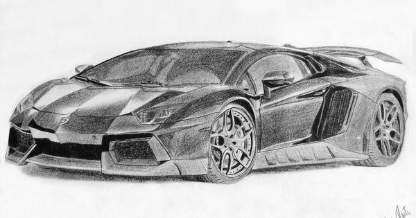 An41 Lamborghini Car Exotic White Art: Lamborghini Aventador Black And White Drawing