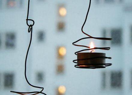 Diy wired tea light holder tea light holder votive for Diy hanging tea light candle holders