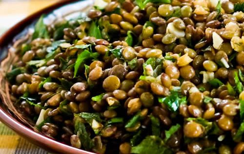 Lebanese Lentil Salad Recipe Salads with green lentil, extra-virgin olive oil, garlic,