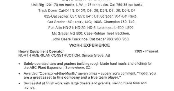 resumes for excavators