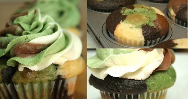 Camouflage Cupcakes - Tutorial