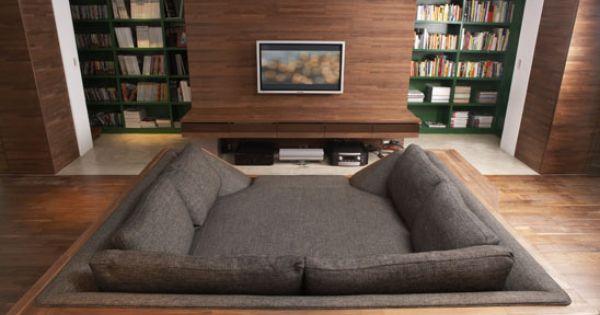 Movie pit. Movie room. Living room.