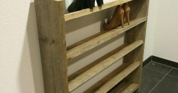 Zelfgemaakt steigerhouten schoenenrek idee huis pinterest - Ingang huis idee ...