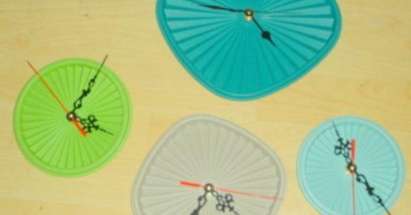 cool idea! tupperware lid clocks
