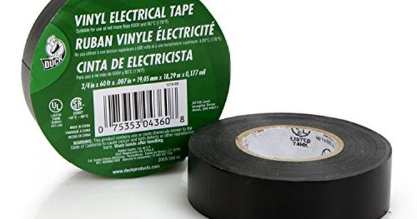 Duck Brand 299006 3 4 Inch By 60 Feet Utility Vinyl Electrical Tape With Single Roll Black Electrical Tape Tape Vinyl