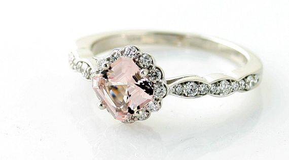 OMG this is beautiful - 14K Asscher Morganite Diamond Engagement Ring Custom