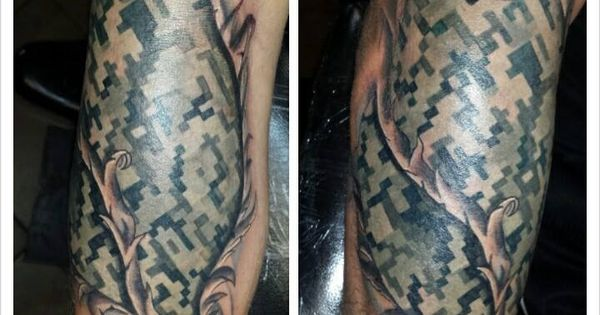 Torn skin digital camouflage tattoo tattoos pinterest for Camo sleeve tattoo