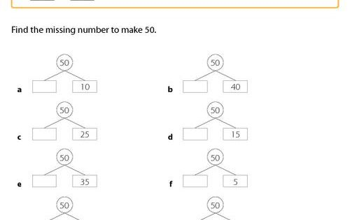 Math Bonds Of 50 Find The Missing Number To Add Up To