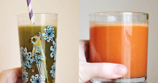 6 fresh juice recipes 1. Beet + Apple + Mint 2. Green ...