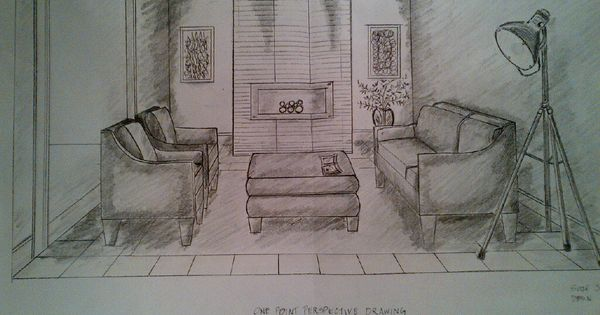 One point perspective drawing of a living room rendered - One point perspective drawing living room ...
