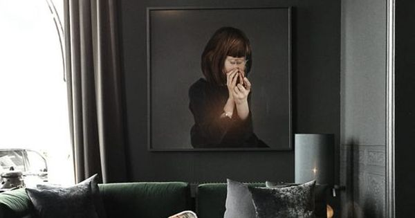 dramatic dark wall paint | modern living room with high ...