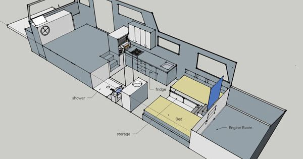Free house boat plans living on a houseboat floating for Boat floor plans