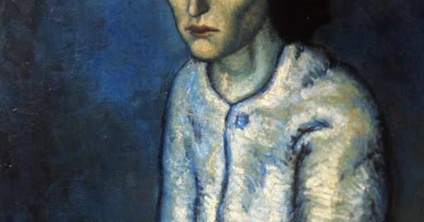 Pablo Picasso, Femme aux Bras Croisés. blue art painting period davidcharlesfoxexpressionism.com pablopicasso