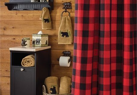 Buffalo Check Bear Applique Shower Curtain Cabin Fever