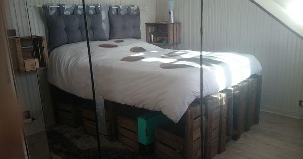 Bois caisse crate apple diy lit chambre rangement concept deco retour photos de mes - Caisse apple ...