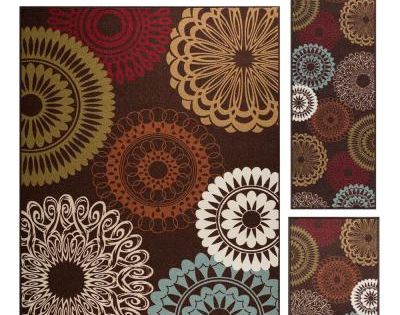 Tayse Rugs Majesty Brown 5 Ft X 7 Ft 3 Piece Rug Set Floral