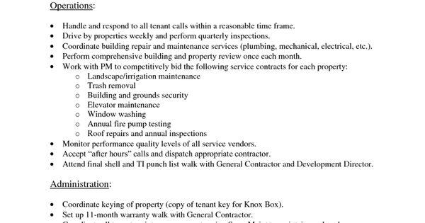 11 property manager job description resume