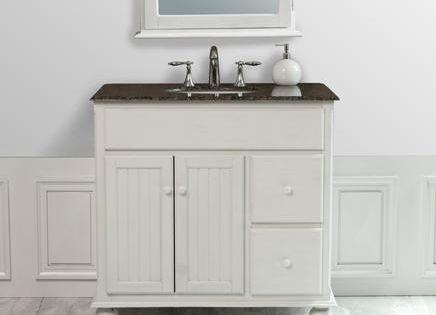 Bathroom Vanity With Beadboard Snow White Single Sink Bathroom Vanity With Granite Top And