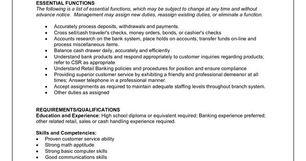Bank Teller Job Description for Resume resumesdesign – Bank Teller Job Description