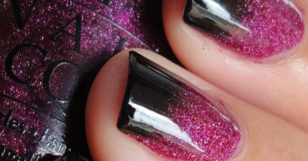 Black and Pink Gradient nails - Tutorial! | ~Nails ...