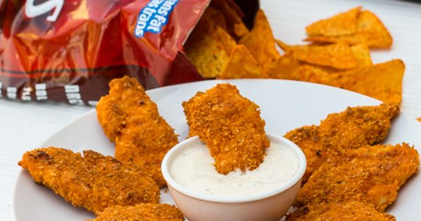 Breaded Doritos Chicken Fingers - 4 boneless skinless chicken breasts 1 large