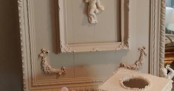 Tableau style shabby chic et romantique lin et blanc for Encadrement shabby chic