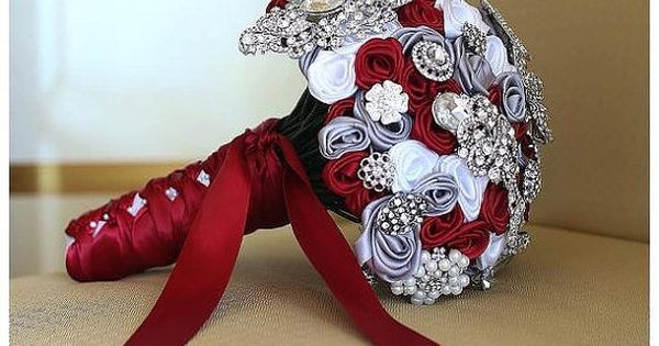 The Karissa Scarlet Red, Gray, & White Large Custom Brooch Bouquet |
