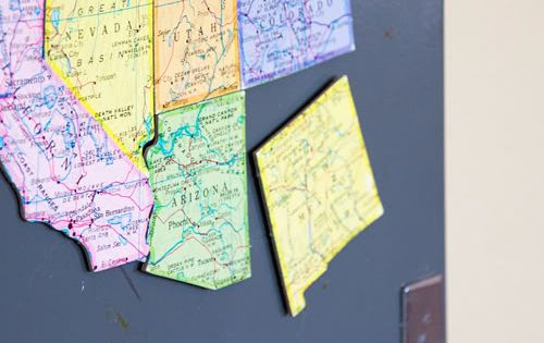 Turn an old map into magnets... great for an educational puzzle for