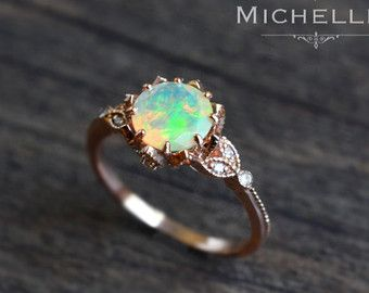 Veronica Opal Engagement Ring Vintage Crown Pear Opal Ring Rose