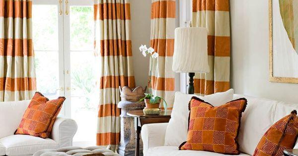 Orange And White Horizontal Striped Curtains Jpg 849 215 1 274