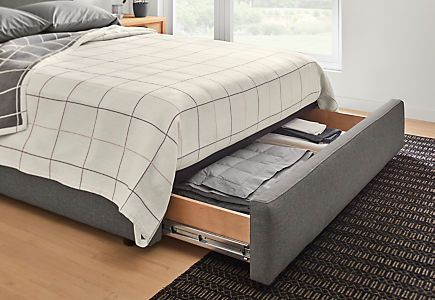 Wyatt Bed With Storage Drawer Modern Contemporary Beds Modern Bedroom Furniture Room Board Bed Storage Bed Storage Drawers Upholstered Storage