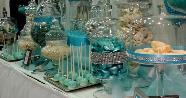 blue and white candy buffet tables | Blue, Silver and ...