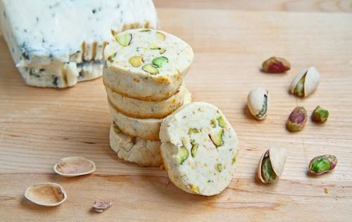 Gorgonzola and Pistachio Shortbread Recipe Desserts with gorgonzola, butter, flour, corn starch,