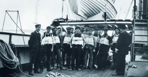 Onboard the RMS Titanic. Life jacket inspection