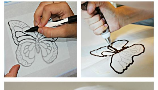 Make Chocolate Butterflies Using Wax Paper and Books! The Books give it