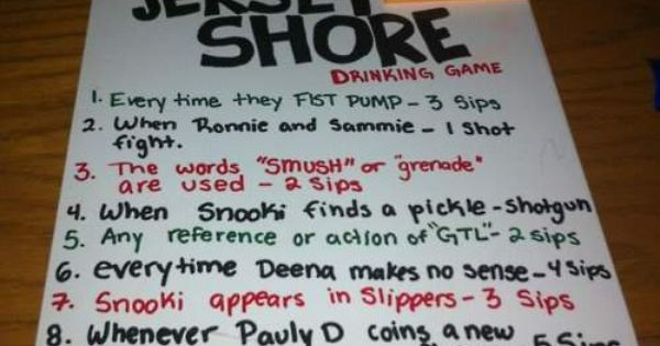Jersey Shore Drinking Game Rules