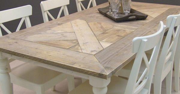 Tafel isabel mozaiek blad steigerhout met wit onderstel 13112013 - Eigentijdse keuken tafel ...