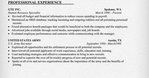 military resume sample