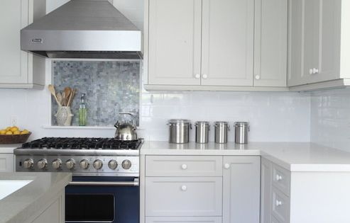 Gray kitchen features gray cabinets painted benjamin moore for Brushed aluminum kitchen cabinets
