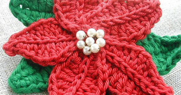 Knitting Patterns For Christmas Brooches : Crocheted Poinsettia Brooch by Green Rabbit Designs, via Flickr ~ no pattern ...