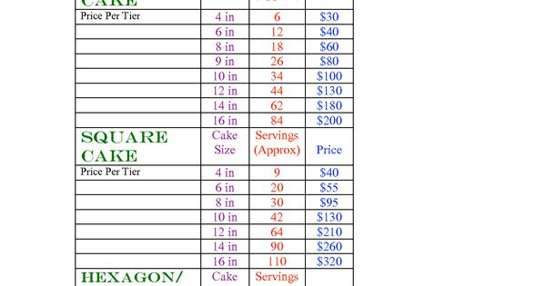 sheet cake sizes tiered cake pricing sheet cake sizes and servings chart 7325